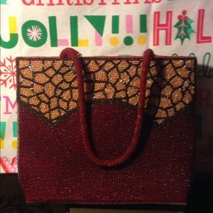 Ermo red and gold beading purse xmas bag nice